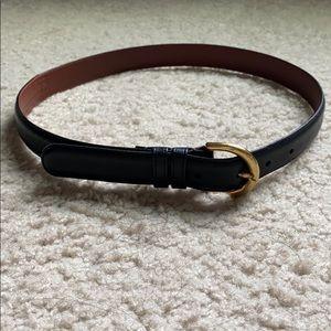 Coach black leather gold brass waist belt